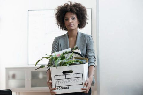 woman packing up office