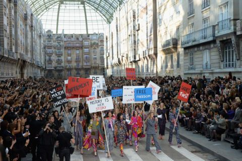 Chanel Stages Feminist Protest At Paris Fashion Week