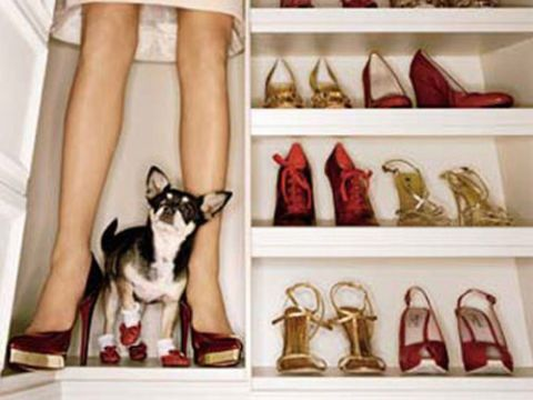 woman in walkin shoe closet