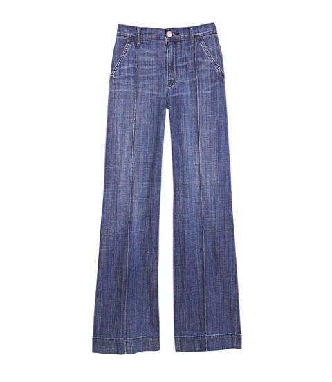 distressed wide leg denim trousers