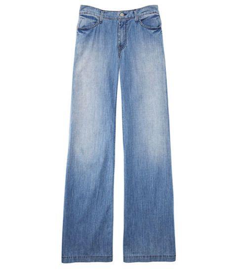 faded blue wide leg denim trousers
