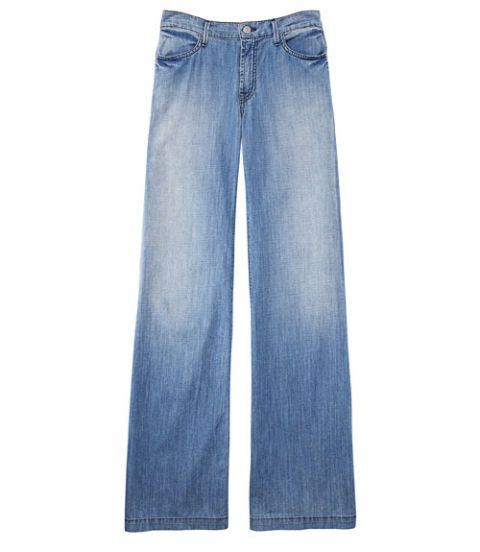 faded blue wide leg denim trousers