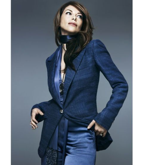 woman in blue suit