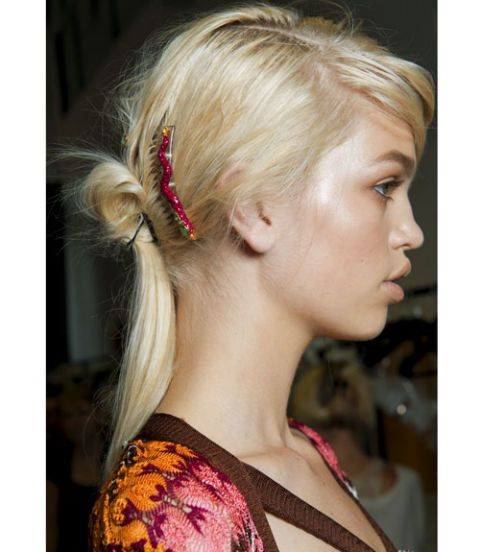 model with hair back