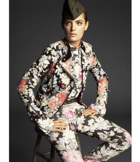 model in flowers