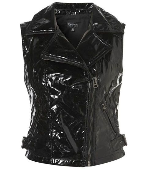 Topshop patent leather sleeveless jacket