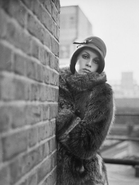 Monochrome, Photograph, Winter, Style, Brick, Monochrome photography, Street fashion, Cap, Photography, Fur clothing,