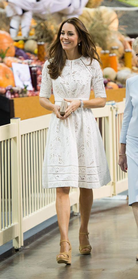 kate middleton white eyelet dress