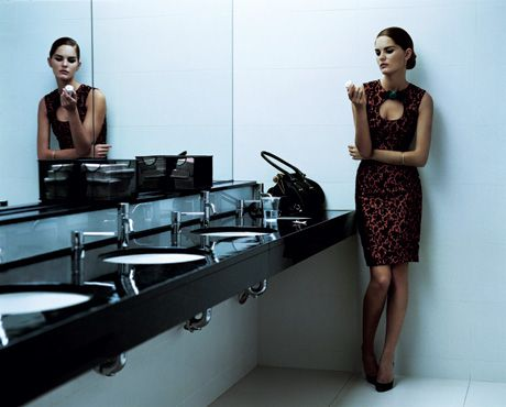woman in office bathroom