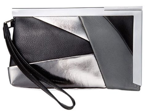 black white and silver metallic purse