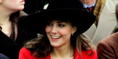kate middleton in black hat and bright red coat
