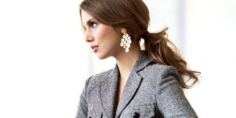 woman in tweed blazer