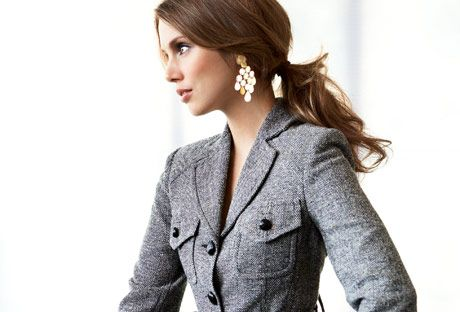 woman in tweed blazer