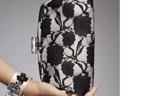 lace black and white evening bag
