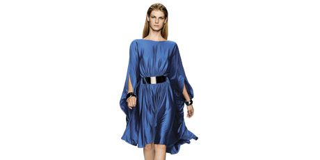 model in blue dress