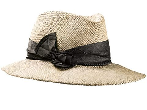 tan hat with black bow