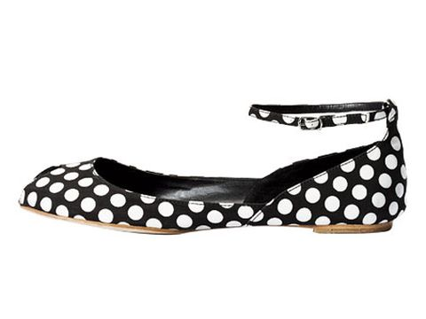 black shoe with white polka dots