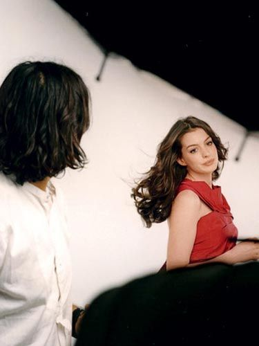 Behind the scenes with Anne Hathaway at the Marie Claire cover shoot.