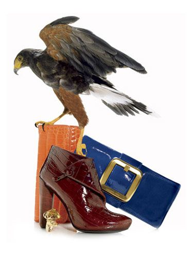 Wild Things accessories; Alligator clutch, $3900, patent clutch, $395, Michael Kors; booties, $1102, Louis Vuitton; ring, $6000, Bastion.