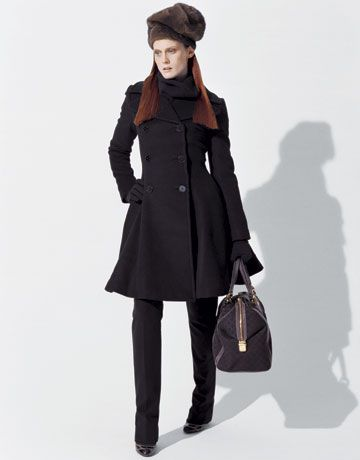 Fashion: Who Wears the Pants?; Coat, $3898, sweater, $1198, pants, $898, Ralph Lauren Collection; shoes, $650, Sergio Rossi; bag, $1890, Gucci; hat, $2000, Michael Kors; gloves, $170, Yohji Yamamoto.