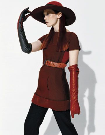 Fashion: Who Wears the Pants?; Top, $1600, pants, $1100, hat, $915, belt, $1250, gloves, Marc Jacobs.