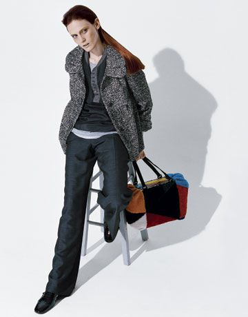 Fashion: Who Wears the Pants?; Coat, $118, Kensie; henley, $420, tees, $255 each, Yigal Azrouël; pants, $138, Liz Claiborne; shoes, $450, Robert Clergerie; bag, $2300, Fendi.