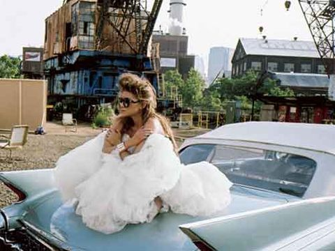 ashley olsen in white dress on car