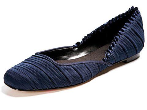 blue textured ballet flat