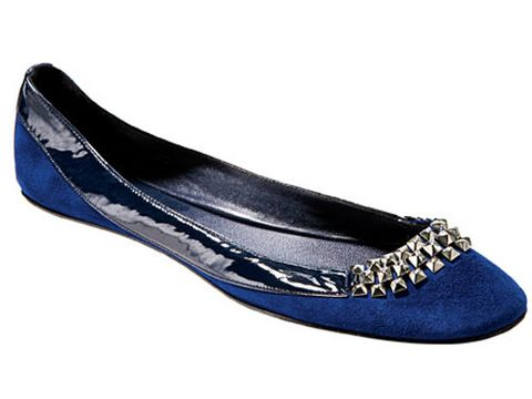 blue and silver ballet flat