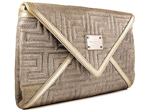 gold geometric textured versace clutch