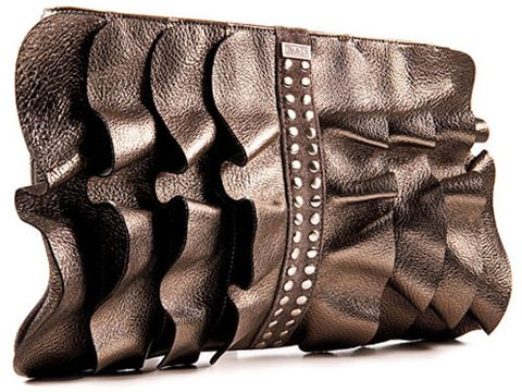 brown ruffled leather clutch