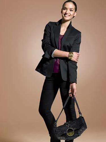 woman in black blazer and pants
