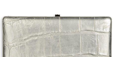 silver lizard print clutch