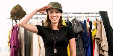 sarah annibale saluting in dressing room