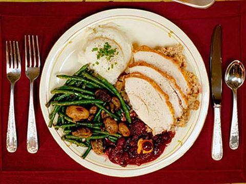 plate filled with holiday food