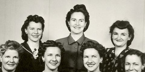 black and white photo of seven polygamous wives in the 1950s