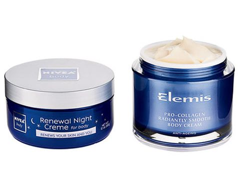 jars of nivea renewal night creme and elemis pro collagen body cream