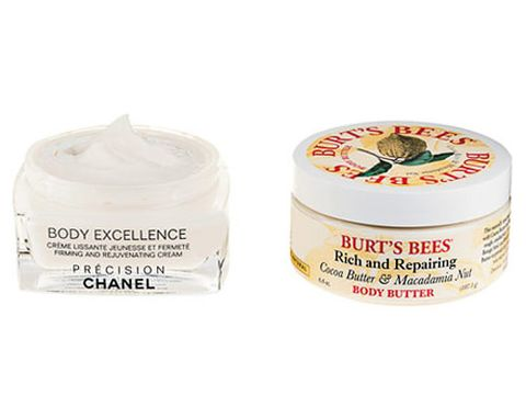 jars of chanel firming body cream and burts bees cocoa butter cream