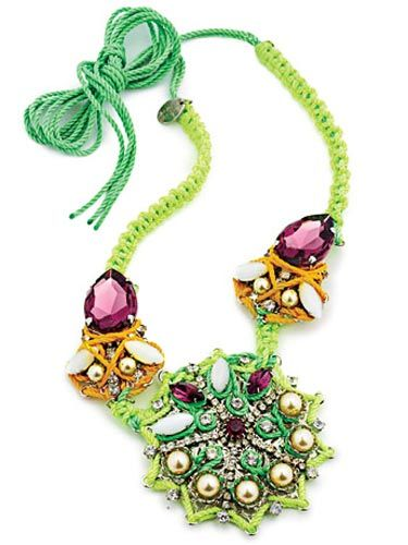 green erickson beamon necklace with pink jewels and pearls