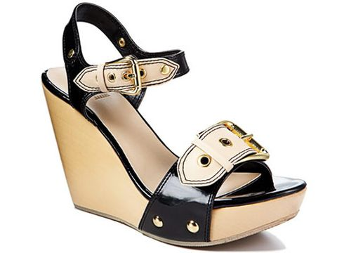black and white shiny buckle wedge sandal from bakers