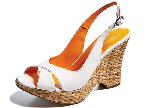 white wedge sandal with straw colored woven sole and heel
