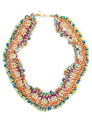 multi colored woven beaded necklace by roxanne assoulin for lee angel