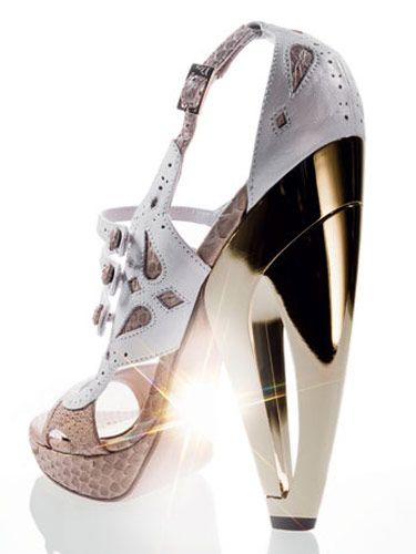 white and gold dior by john galliano high heel from the Spring 2008 runways