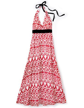 red white and black halter dress by wd ny