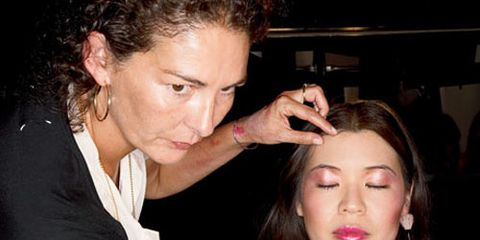 marie claire reporter ning chao getting a model makeup makeover backstage