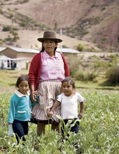 mother with two small daughters in a field in peru