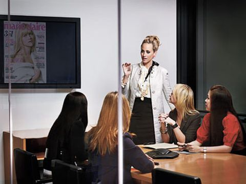 editor in chief kim raver in the conference room at marie claire