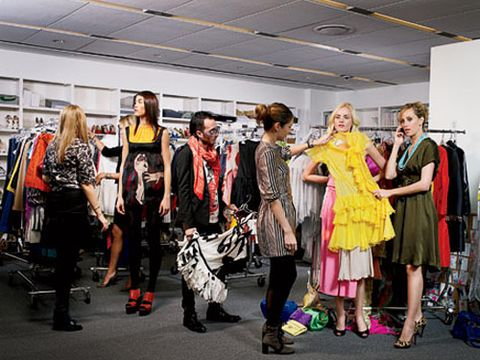 models in the fashion closet at marie claire