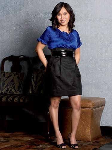 mai thanadabouth in a bold blue shirt and high waist black skirt