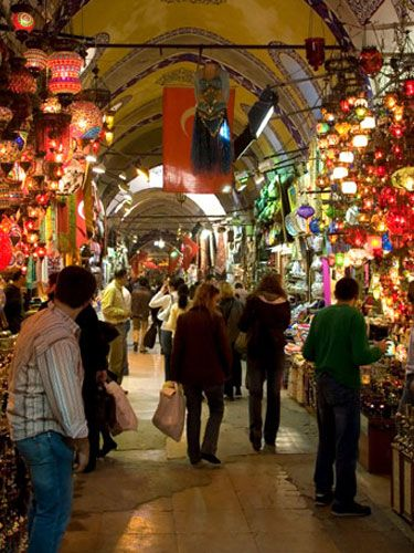 shopping at a local bazaar or market